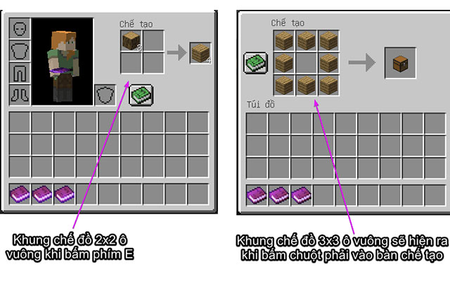khung chế tạo trong minecraft